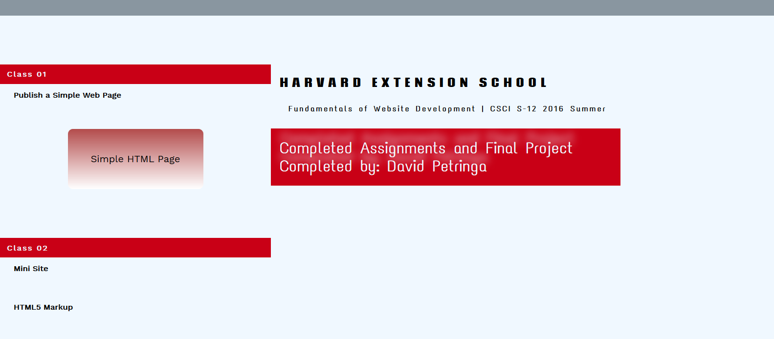 Home Page for Fundamentals of Web Developement Using JavaScript at Harvard Extension School